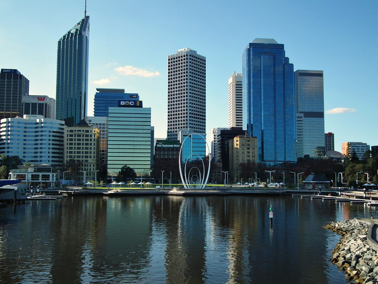 Elizabeth Quay backdropped by the Perth City skyline