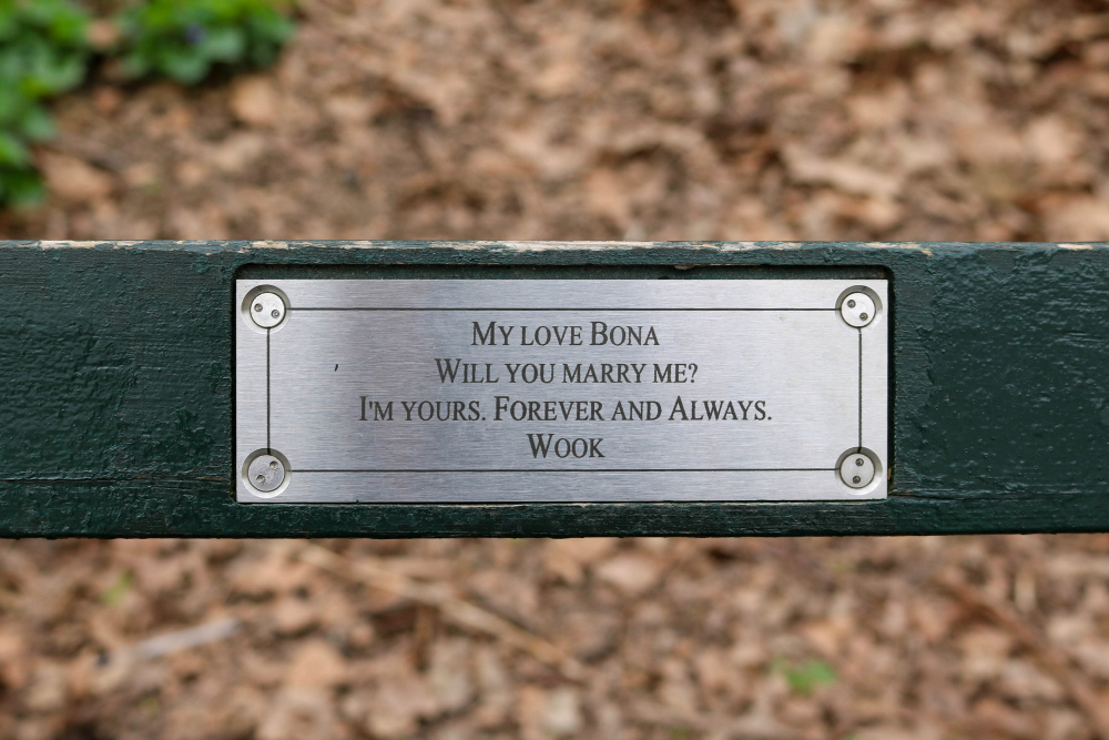 Marriage Proposal Plaque Central Park Bench Nyc Usa From All Corners